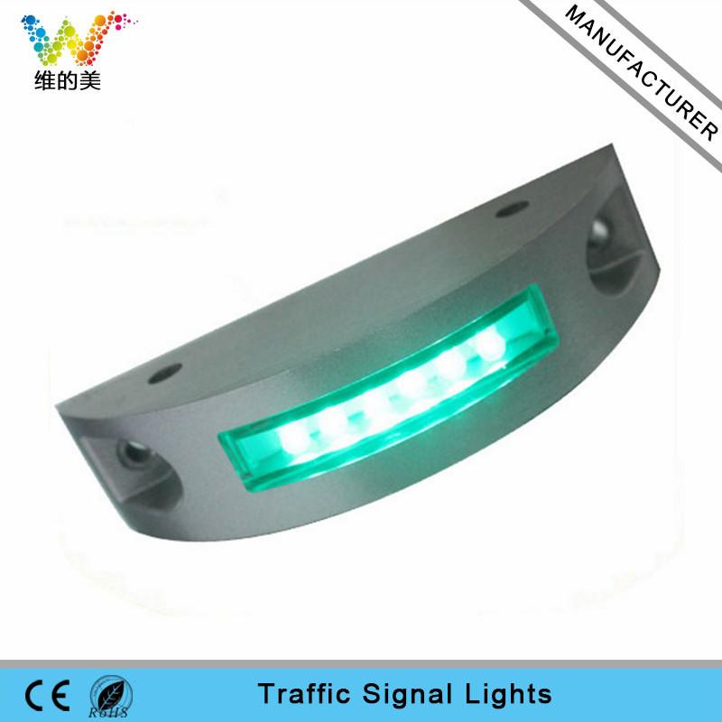 Semi circle aluminum shell solar power road stud green LED flashing light road marker