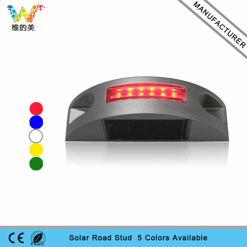 High quality semi circle red LED flashing light solar power road stud