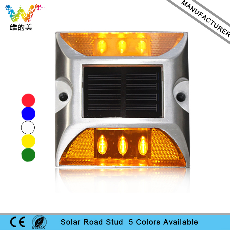 Road Stud New Design Alminum Housing One Side Yellow Led Solar Power Flash Mode Road Stud Reflector In Short Supply Roadway Safety
