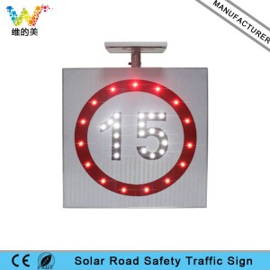 Aluminum alloy solar power LED flashing speed limit sign