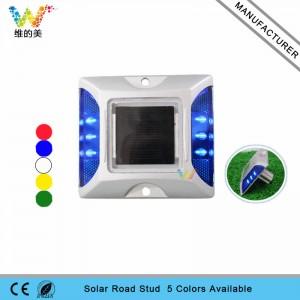 LED flashing light aluminum solar power road stud