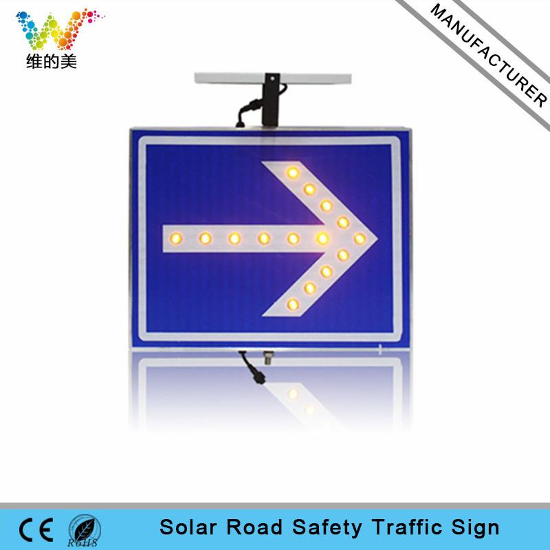 High quality aluminum LED arrow light solar warning sign board