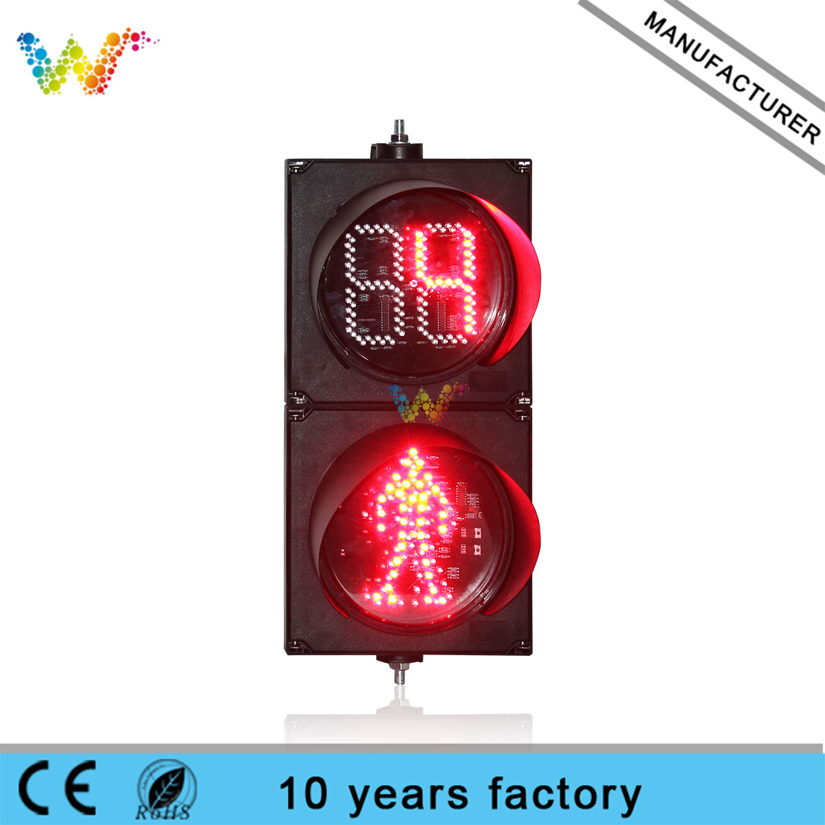 200mm crossing road pedestrian countdown timer led traffic light