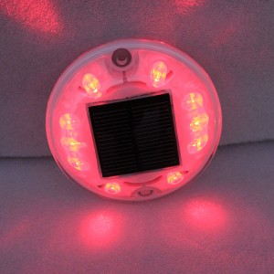 New arrival round shape red LED light solar power traffic road stud marker