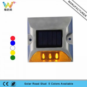 One side LED flashing light aluminum solar panel road marker