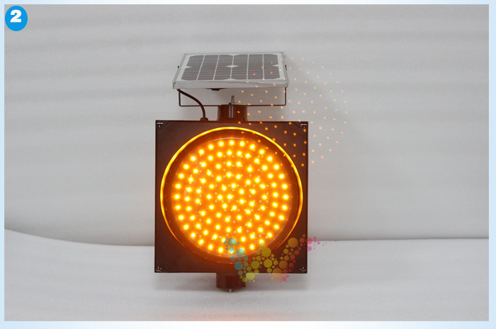 High way solar warning yellow flashing light
