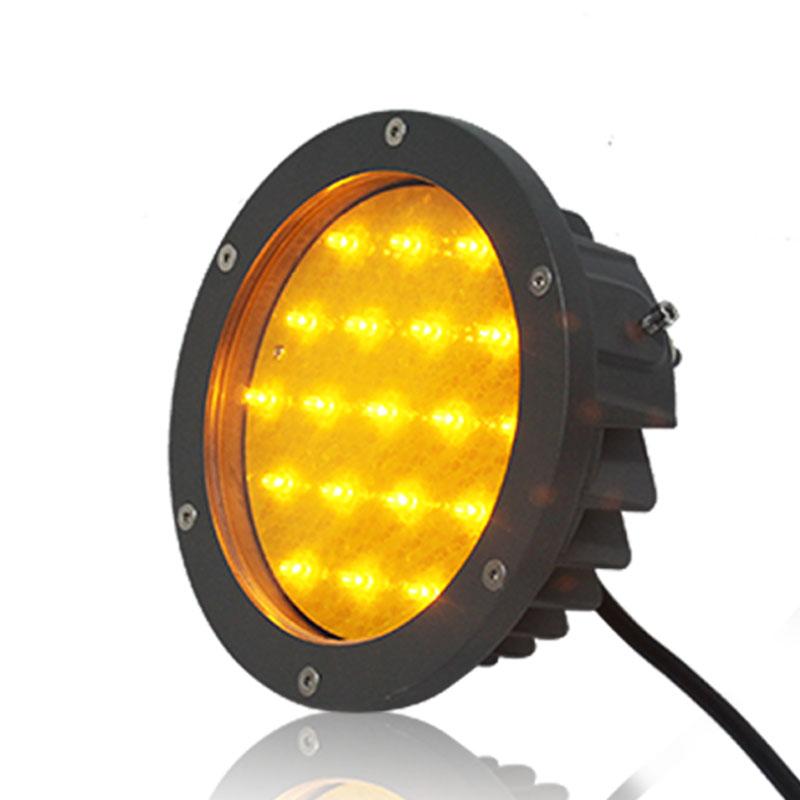 new design foggy area round yellow warning light road construction traffic flashing light