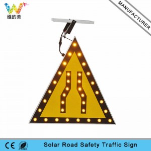 New triangle amber LED flashing light solar warning sign board