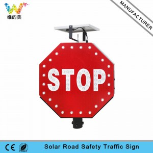 New aluminum STOP sign board solar power traffic sign
