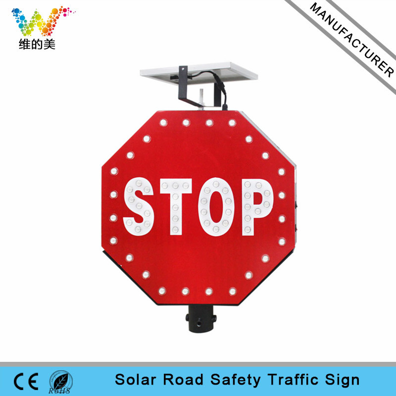 New aluminum STOP sign board solar power traffic sign