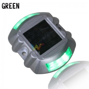 Green LED flashing light cat eye solar road stud aluminum housing road reflector