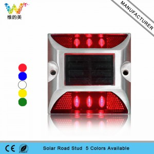 Red LED flashing light road safety solar power road stud