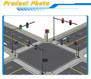 One intersection DC 12v solar traffic light